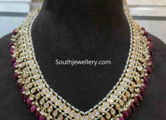 uncut diamond and ruby beads necklace