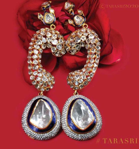 uncut diamond cuff earrings