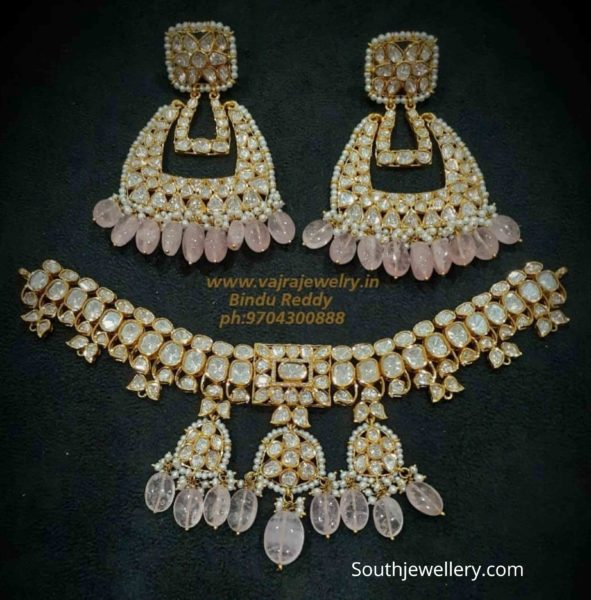 uncut diamond pacchi necklace set