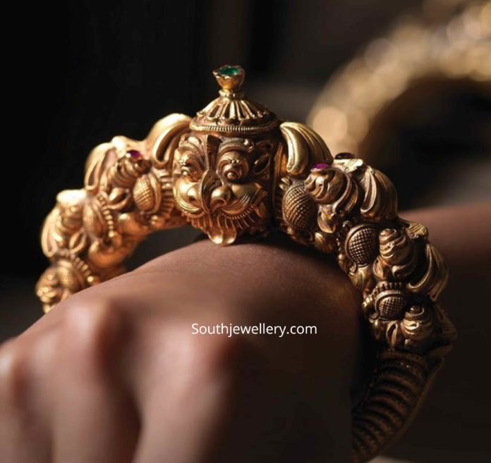 antique gold kada designs 2020