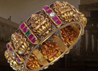 antique gold lakshmi kada