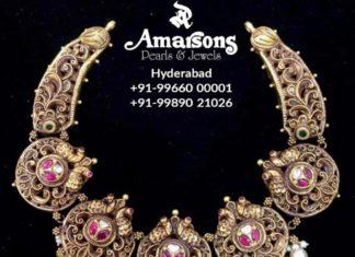 antique gold peacock nakshi necklace (1)