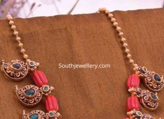 coral beads mango necklace