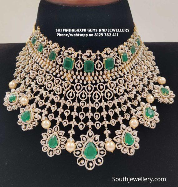 detachable diamond emerald choker (1)