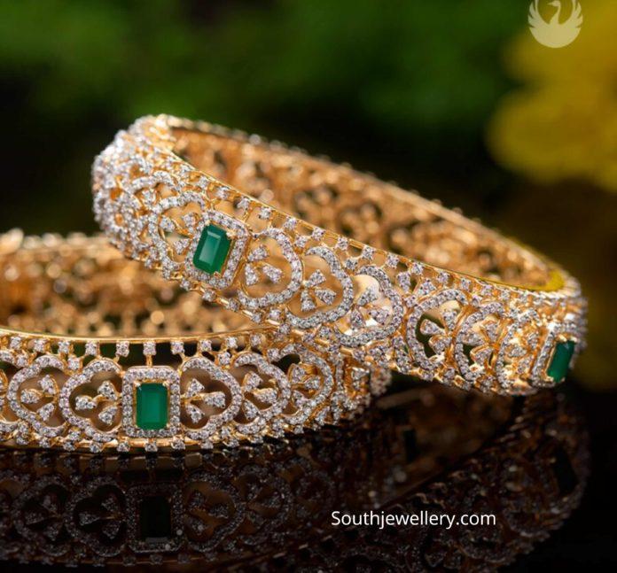 diamond emerald bangles