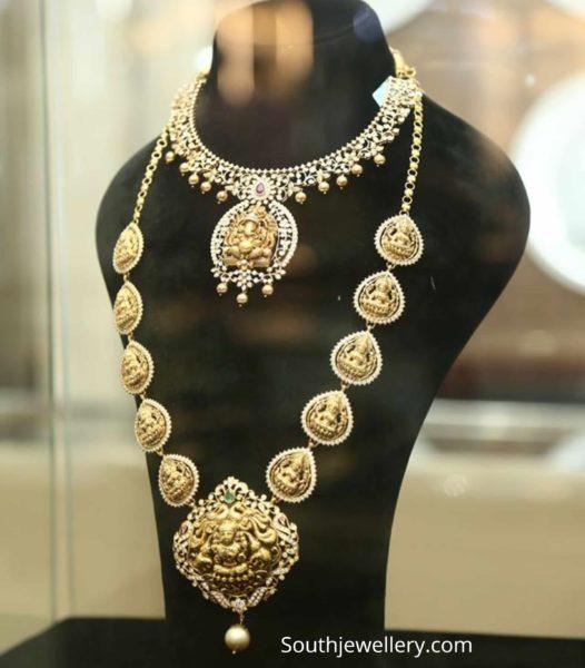 diamond necklace and lakshmi haram
