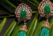 emerald bead tassel earrings
