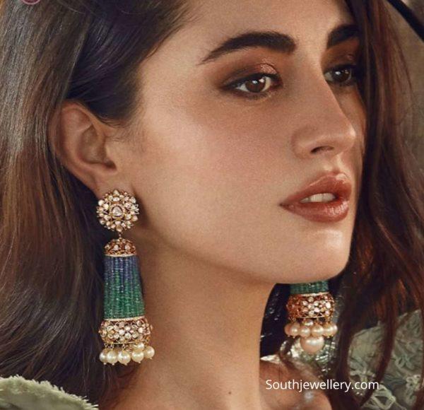 emerald bead tassel earrings