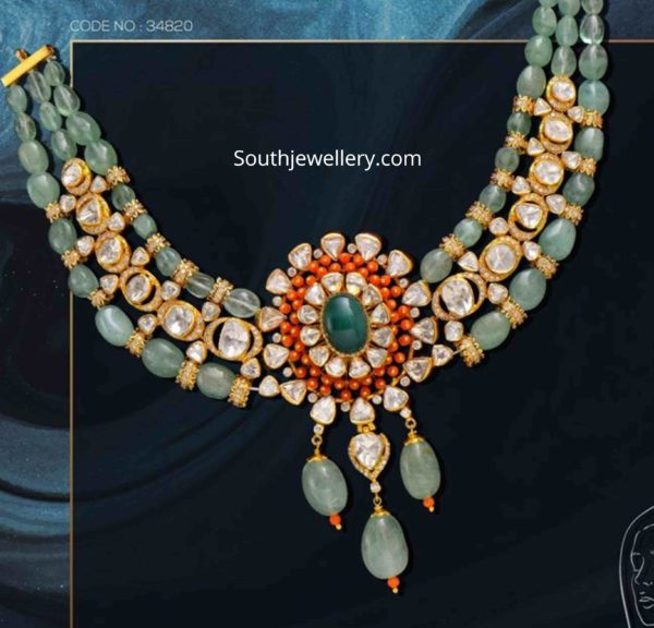 emerald beads and polki necklace set (1)