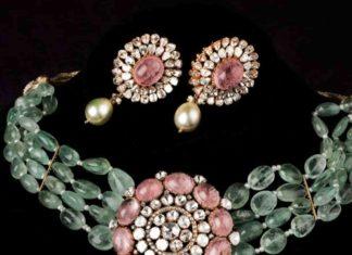 emerald beads choker designs 2020