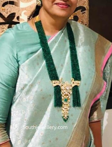 emerald beads long necklace nikitha linga