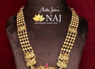 gold balls haram with ;akshmi pendant