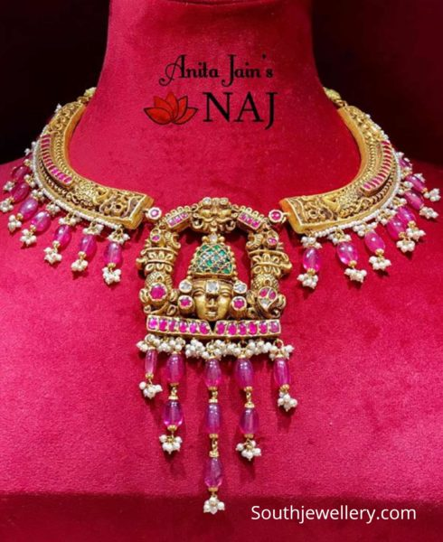 gold kante necklace with balaji pendant