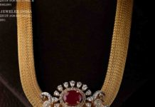 gold mesh chain with diamond pendant