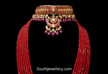 kundan choker and ruby beads mala