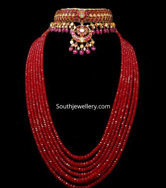 kundan choker and ruby beads mala
