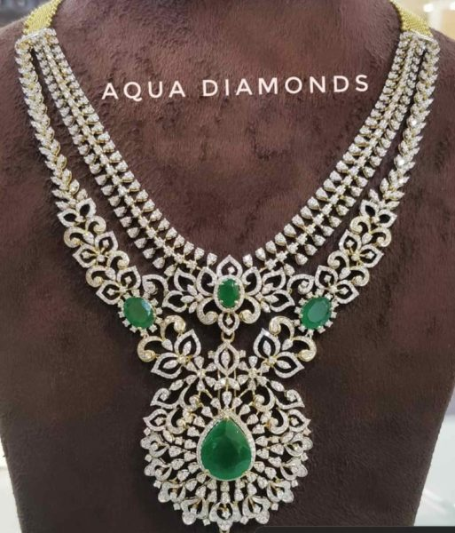 layered diamond emerald necklace by aqua diamonds and jewels