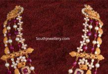 layered uncut diamond and ruby beads mala
