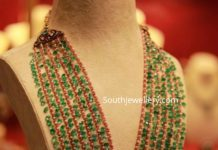 multi layered emerald and ruby beads haram