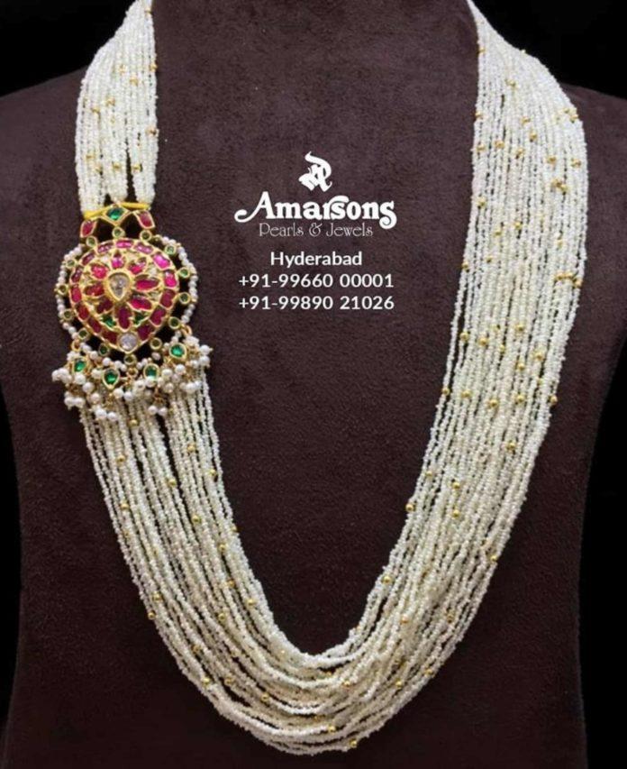 multi strand ksea pearls haram with kundan side pendant