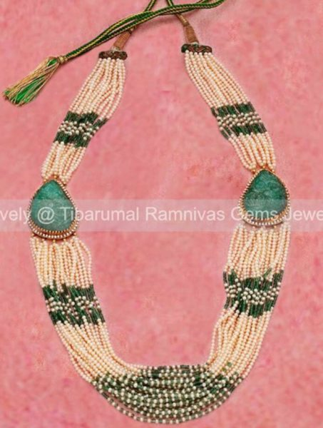 multi strand pearl and emerald beads necklace