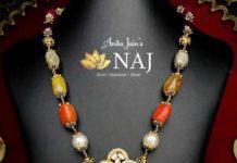 navratna beads necklace with lakshmi pendant