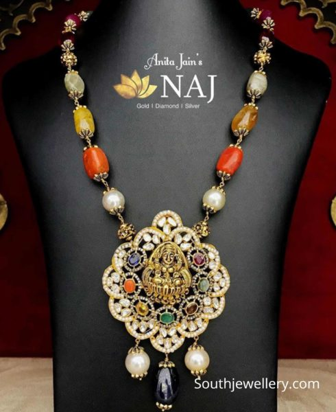 navratna beads necklace with lakshmi pendant