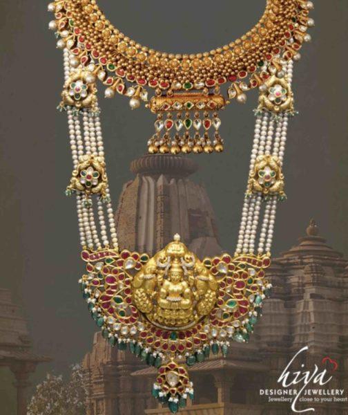 pearl haram with lakshmi pendant