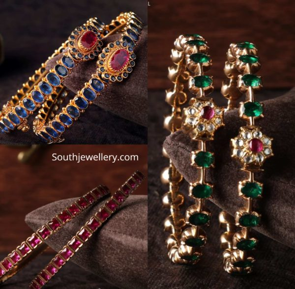 precious stone bangles 22k gold