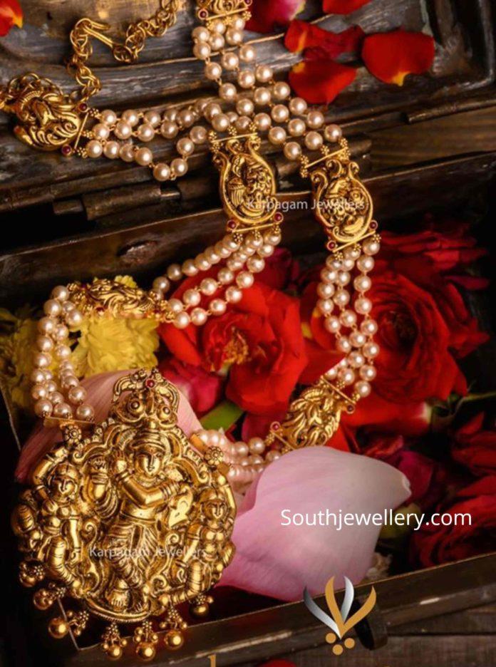 south sea pearl mala with radha krishna pendant