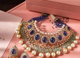 uncut diamond and sapphires choker set