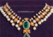 antique gold necklace with uncut diamonds and pearls