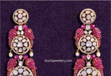bird motif polki ruby earrings