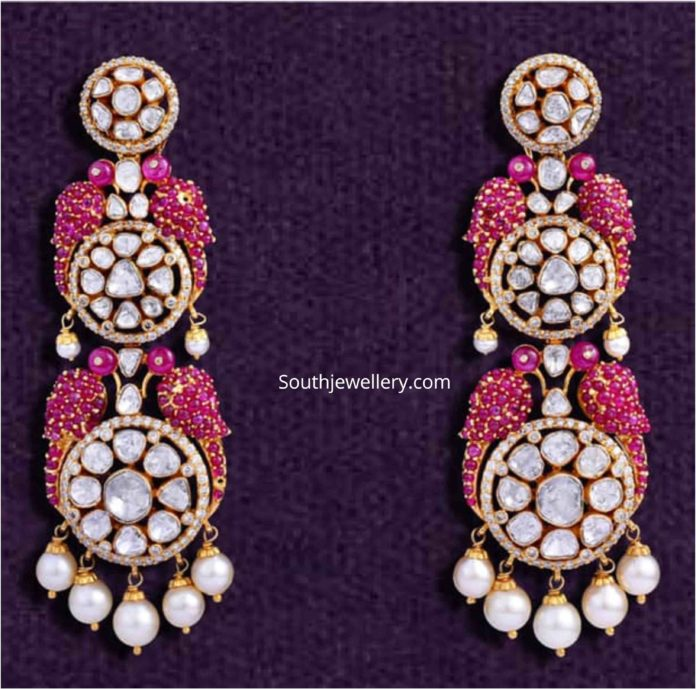 bird motif polki ruby earrings