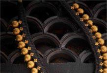 black thread gold balls necklace
