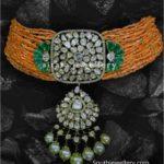 coral beads choker with polki pendant