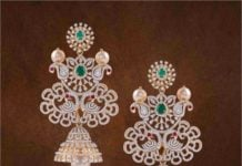 diamond emerald peacock jhumkas (1)