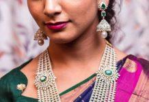 diamond emerald step haram and jhumkas