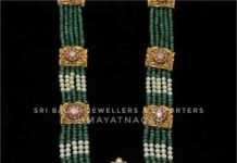 emerald beads haram with peacock pendant