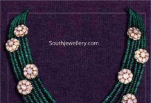emerald beads necklace with floral polki motifs