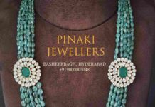 emerald beads necklace with side pendants