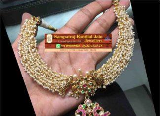 guttapusalu pearl necklace with lakshmi pendant
