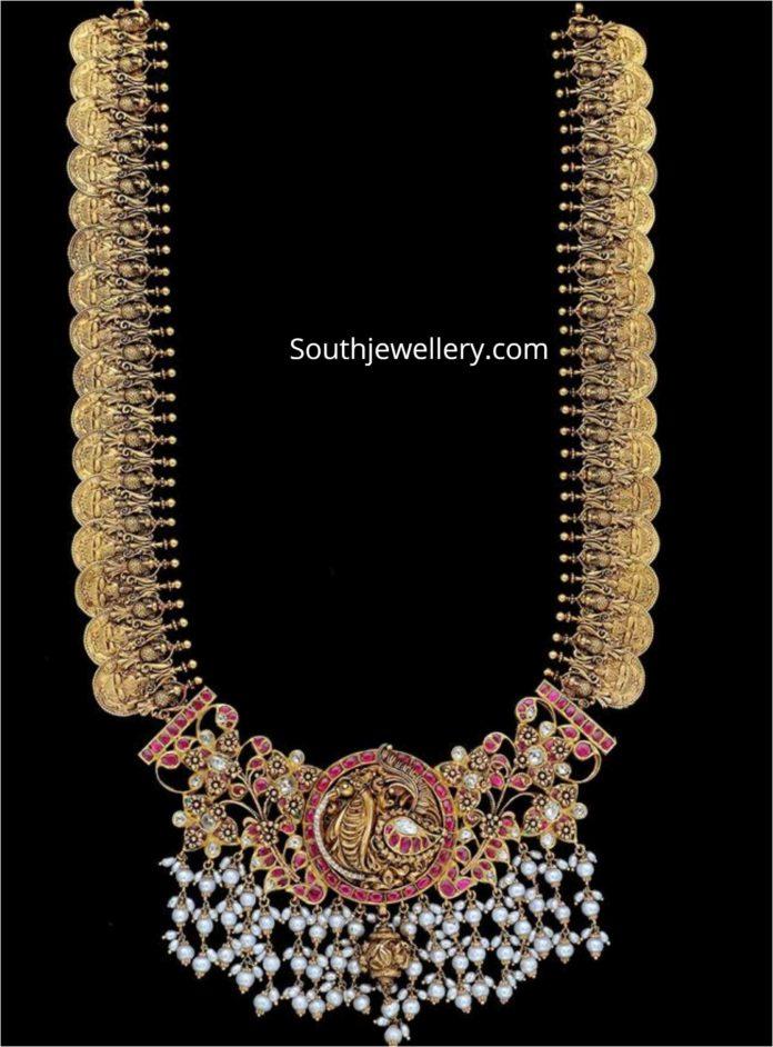 kasu mala with peacock pearl pendant
