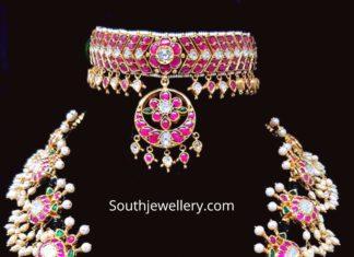 kundan choker and guttapusalu necklace