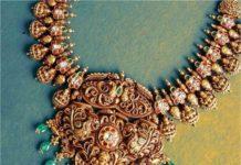 lakshmi haram with peacock pendant