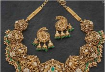 peacock and elephant design gold necklace set