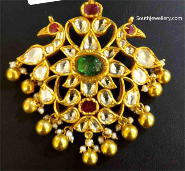 peacock kundan pendant (1)