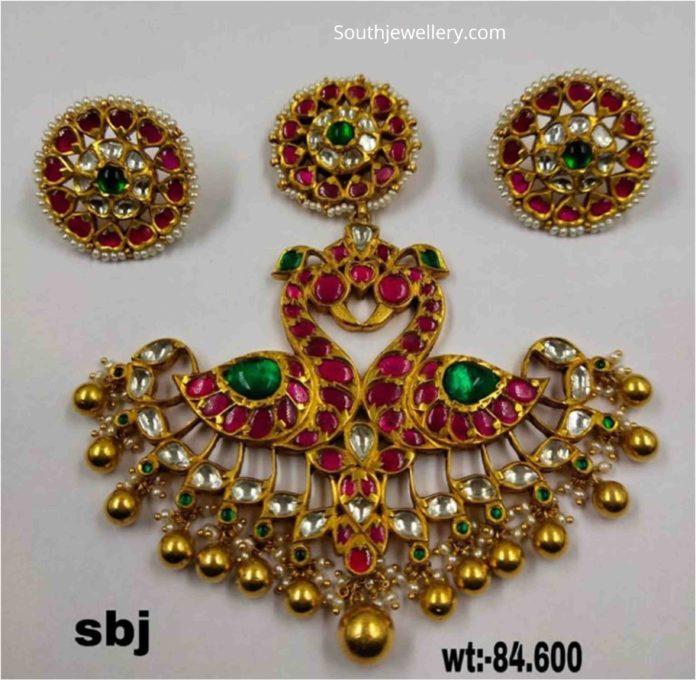 peacock kundan pendant set