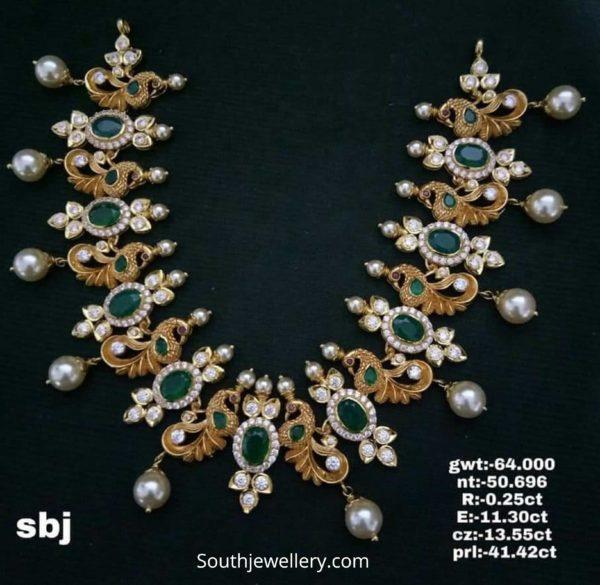 peacock uncut diamond necklace