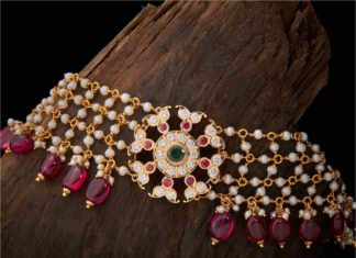 pearl and ruby beads necklace